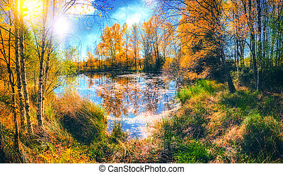 Autumn landscape with forest lake. Fall nature background