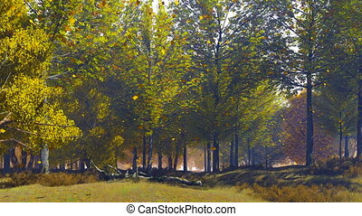 Autumn landscape with leaves falling from trees - Peaceful...