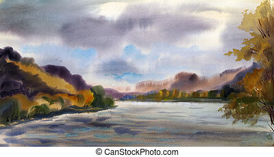 Autumn landscape with mountain lake painted by watercolor