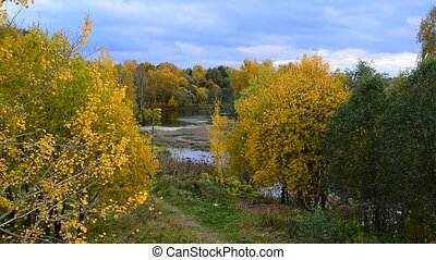 Autumn landscape with pond in Russia