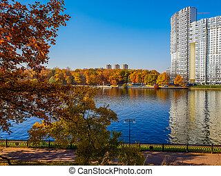 Autumn landscape with river in Khimki, Russia