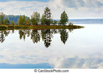 Autumn landscape with Salmon lake