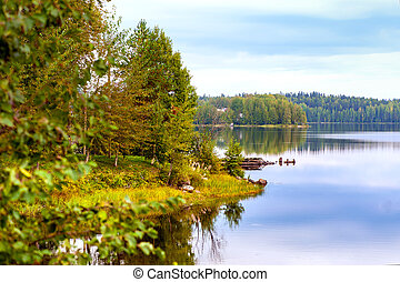 Autumn landscape with Salmon lake in Karelia, Russia