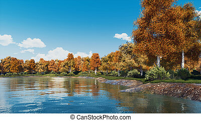 Autumn landscape with scenic trees and forest lake