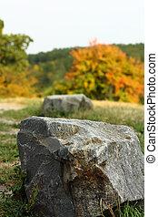 Autumn Landscape with stones