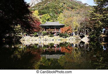 Autumn landscape with temples in south korea, Baegyangsa