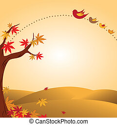 Autumn landscape with tree and bird