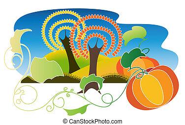 Autumn Landscape with two pumpkins