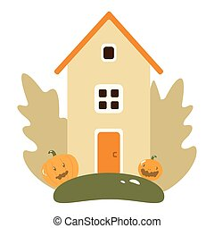 Autumn Landscape with Wooden House, Pumpkins, Leaves, Tree, Fruit and. Flat Design Style.