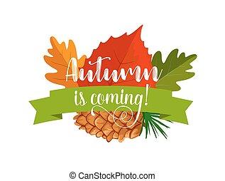 Autumn leaf badge of autumnal forest nature