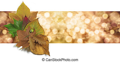 Graphical wide bokeh orange and gold background header with a small group of autumn leaves on left side
