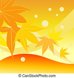 Different level of autumn leaf with orange background.