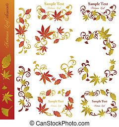 Autumn leaf elements set