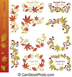 Autumn leaf elements set