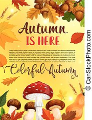 Autumn leaf fall in forest vector greeting poster - Autumn...