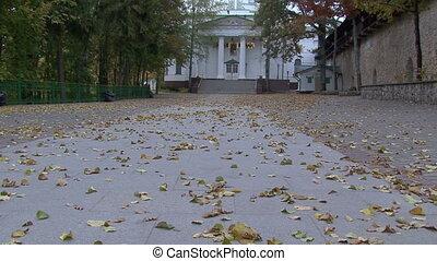 autumn leaf fall in Orthodox monastery