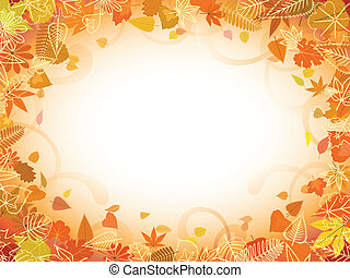 Autumn leaf frame with space for text