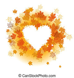 Autumn leaf: heart shape. Place for your text here.