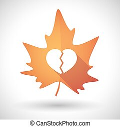 Autumn leaf icon with a broken heart