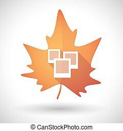 Autumn leaf icon with a few photos