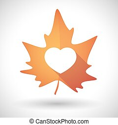 Autumn leaf icon with a heart