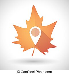 Autumn leaf icon with a map mark
