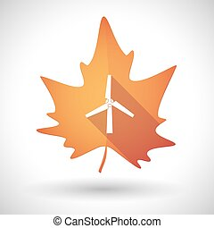 Autumn leaf icon with a wind generator