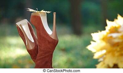 Autumn Leaf On High Heel - Female legs wearing high heel...