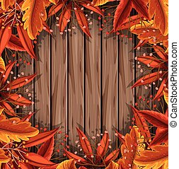 Autumn Leaf on Wooden Template