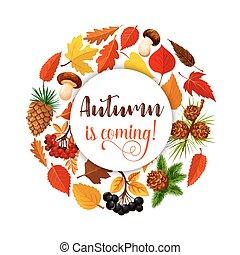 Autumn leaf poster for fall nature season design