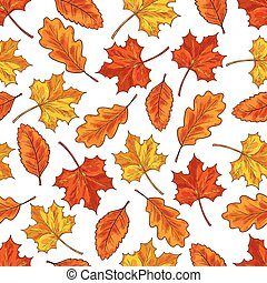 Autumn leaf seamless pattern background
