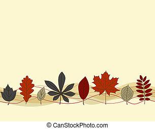 Autumn leaf seamless pattern - Hand drown autumn leaf border...