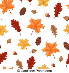autumn leaf seamless pattern illustration.