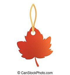 autumn leaf tag hanging seasonal icon