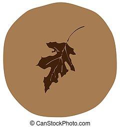 Autumn leaf vector illustration on beige background