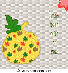 Autumn leaf with pumpkin and leaves on a knitted background for your design. Vector