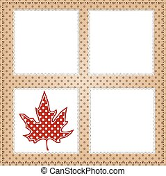 Autumn leaf with square lace frames
