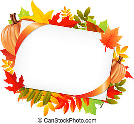 Autumn Leafs And Blank Gift Tag With Pumpkins, Isolated On ...