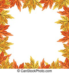 autumn leafs plants seasonal frame vector illustration ...