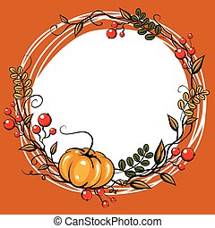 Autumn Leave Decoration. Halloween or thanksgiving card
