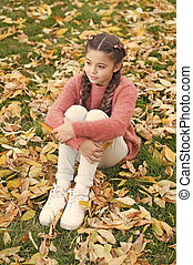 Autumn leaves and nature. Happy little girl in autumn forest. thoughtful childhood. School time. Small child with autumn leaves. So beautiful. Enjoying autumn day. Real relaxation