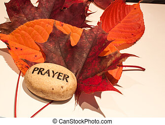 autumn leaves and prayer rock - beautiful rich colored fall...