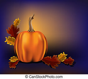 Autumn leaves and pumpkin on a blue background