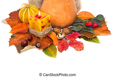 Autumn leaves and pumpkin with paper