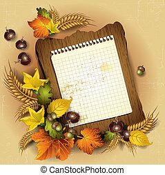 Autumn leaves and sheet - Sheet of paper with frame of...