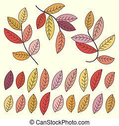 Autumn leaves and tree branches set. Vector illustration.
