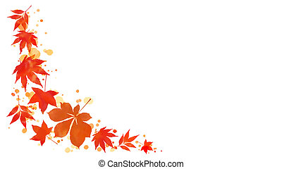 Autumn leaves and watercolor stains border - Corner border...