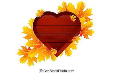 autumn leaves and wooden heart