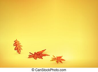 Autumn leaves are coming on solid yellow orange background