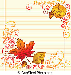 Autumn Leaves Back to School Doodle - Hand-Drawn Fall /...